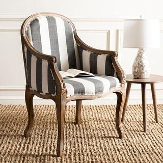 "Safavieh Old World Dining Esther Grey/ Off-White Stripe Arm Chair - 25.2"" x 26.4"" x 37.4"""