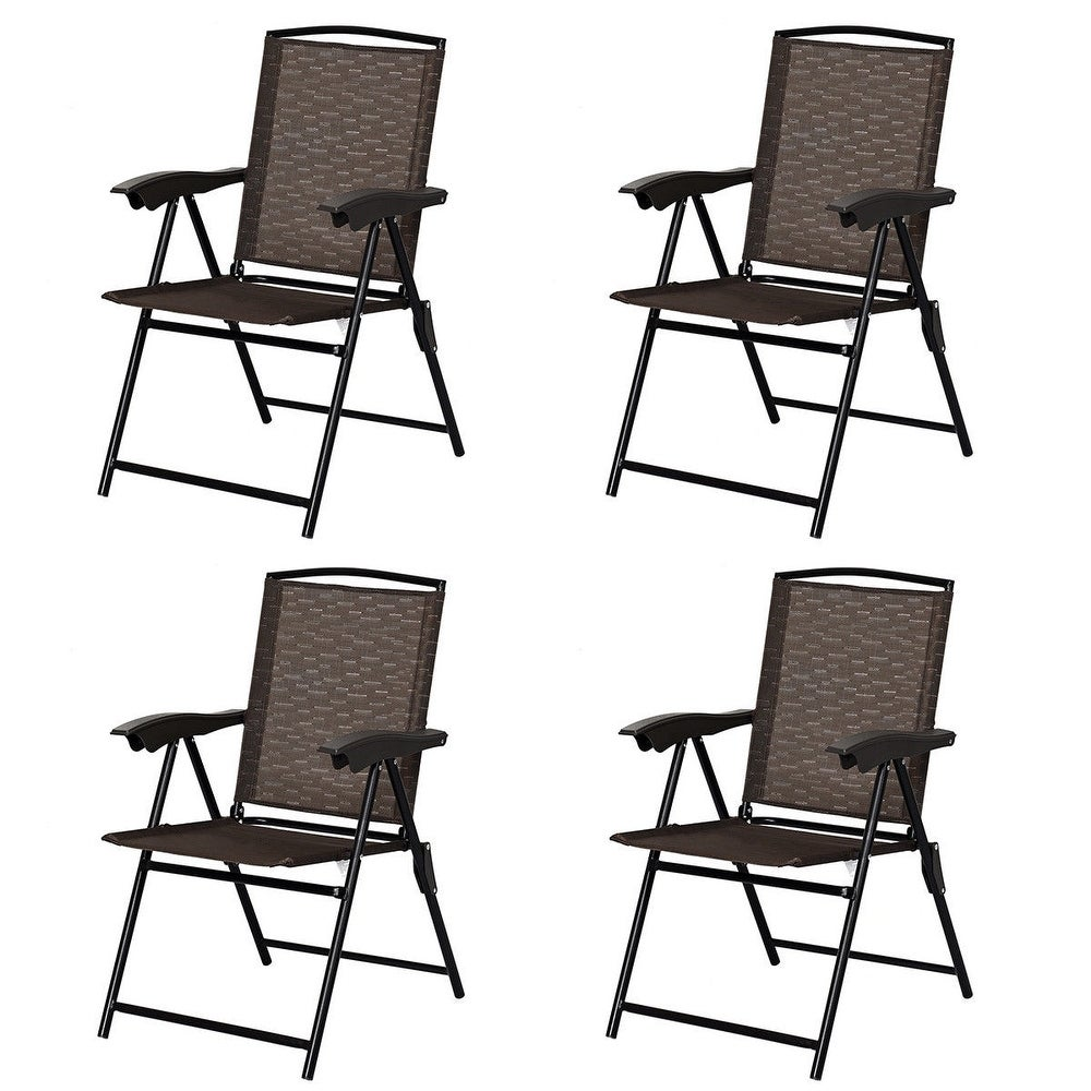 4 pcs Folding Sling Chairs with Steel Armrest and Adjustable Back (Brown)
