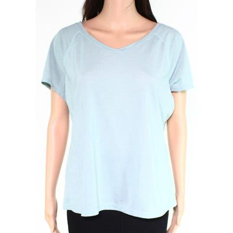 Zella Women's Knit Top Blue Size XL V-Neck Fly Mode Short Sleeve