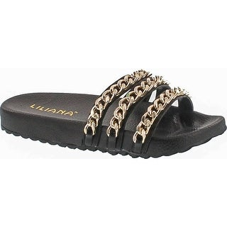 Liliana Nomi-2 Women Flip Flop Gold Chain Link Slide Slip On Flat Sandal Shoe Slipper Black