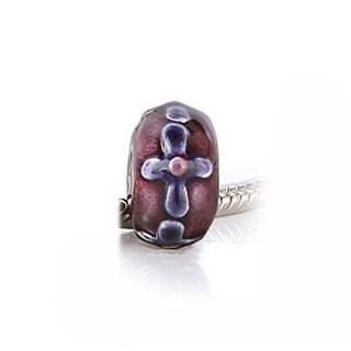 Bling Jewelry Purple Cross Floral Enamel Bead Charm .925 Sterling Silver