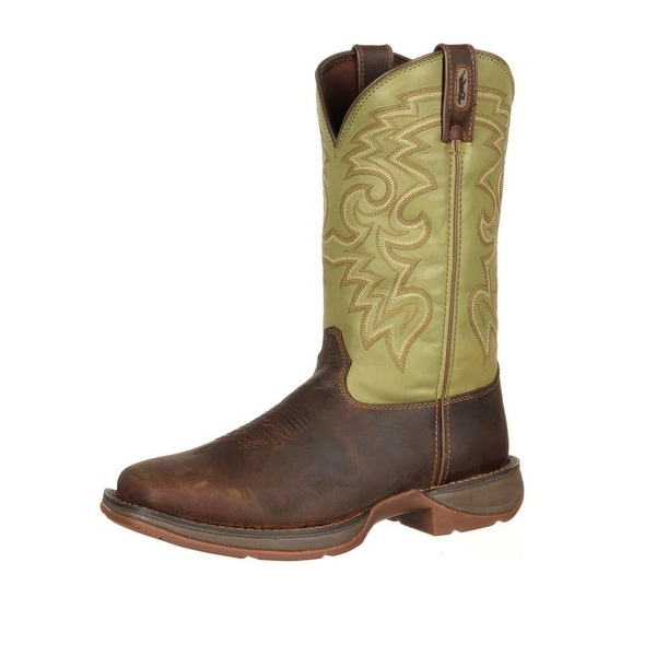 "Durango Western Boots Mens 12"" Rebel Pull On Square Toe Coffee"