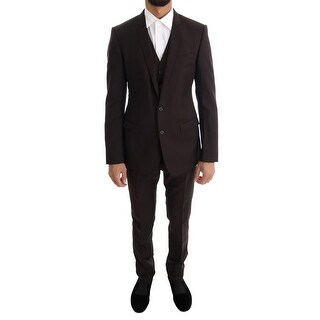 Dolce & Gabbana Dolce & Gabbana Brown Striped GOLD Slim Fit 3 Piece Suit - it46-s