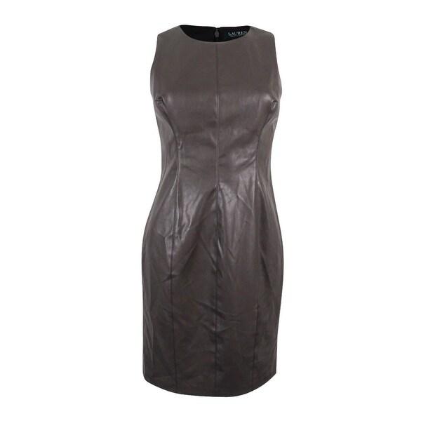 9d5f709d378 Shop Lauren Ralph Lauren Women s Faux-Leather Sheath Dress - On Sale ...