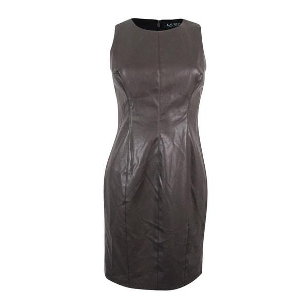 Lauren Ralph Women X27 S Pee Faux Leather Sheath Dress Seal