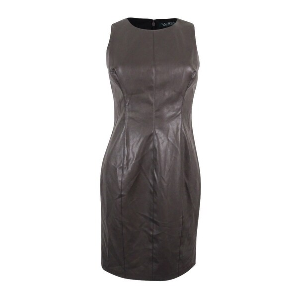 Lauren Ralph Lauren Women's Petite Faux-Leather Sheath Dress