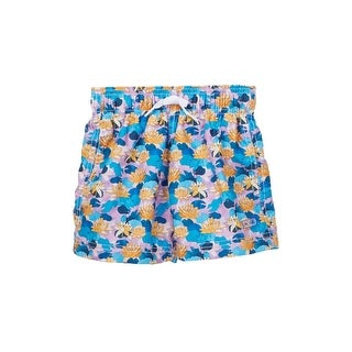 Azul Boys Purple Blue Lily Pond Print Drawstring Swim Shorts