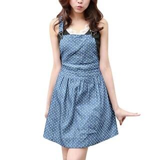 Women Newly Dots Print Bust Pocket Unlined Denim Overall Dress Light Blue XL - Light Blue
