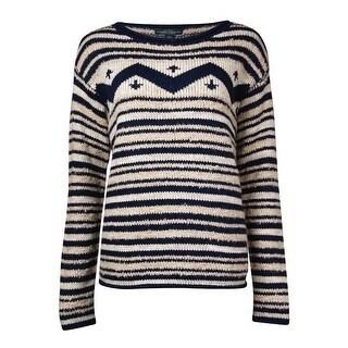 LRL Lauren Jeans Co. Women's Wool Cotton Intarsia Sweater