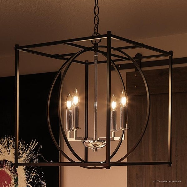 """Luxury Transitional Chandelier, 20.5""""H x 18""""W, with Multi-Shape Style, Natural Black Finish by Urban Ambiance. Opens flyout."""