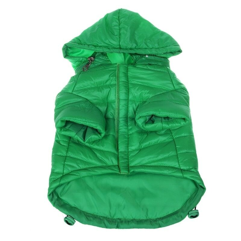 Pet Life Sporty Avalanche Lightweight Dog Coat with Hood - Green -  Small - (10-12 Neck to Tail)