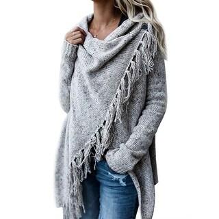 QZUnique Women's Tassel Hem Sweater Poncho Coat Cardigan Shawl Wrap Outwear