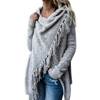 QZUnique Women's Tassel Hem Sweater Poncho Coat Cardigan Shawl Wrap Outwear