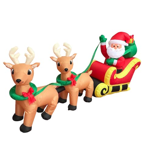 ALEKO Outdoor Yard Inflatable Christmas Decoration Santa, Sleigh with Reindeer