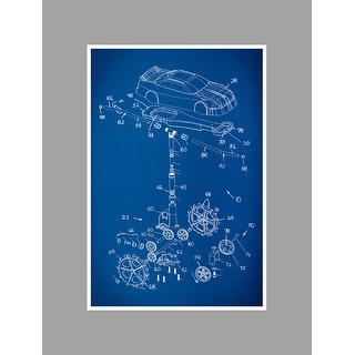 Race Car 2 Gearhead Blueprints Matte Poster 24x16