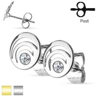Pair of Crystal Triple Loop Stainless Steel Stud Earrings