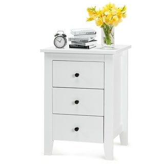 Nightstand End Beside Table Drawers Modern Storage Bedroom Furniture White