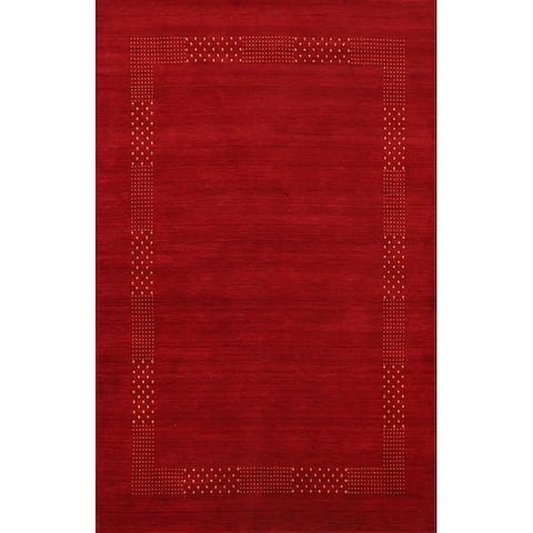 "Red Contemporary Gabbeh Oriental Area Rug Hand-knotted Wool Carpet - 5'8"" x 7'10"""