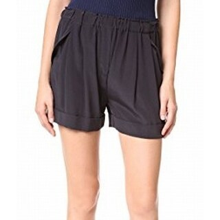 DKNY NEW Solid Black Womens Size Large L Pull-On Pleated Silk Shorts