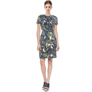 Jason Wu Short Sleeve Abstract Print Sateen Fitted Sheath Cocktail Dress - 6
