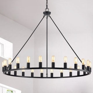 Link to The Gray Barn Liam 24-light 48-inch Round Wagon Wheel Chandelier Similar Items in Chandeliers
