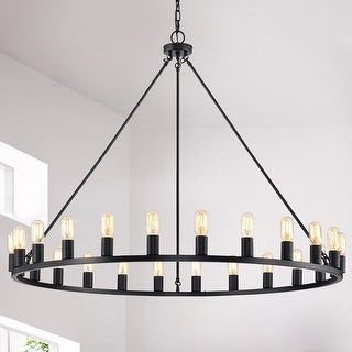 Link to The Gray Barn Liam 24-light 48-inch Round Wagon Wheel Chandelier Similar Items in Outdoor Ceiling Lights