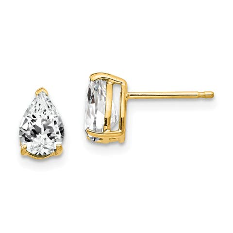 14K Yellow Gold 7x5mm Pear Cubic Zirconia Earrngs By Versil