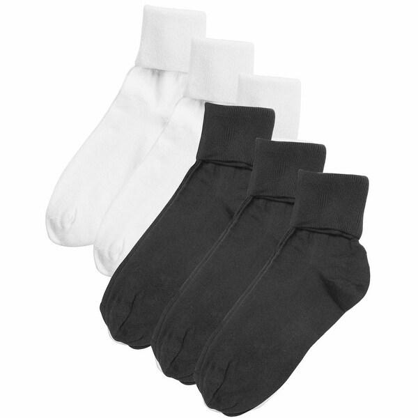 Women's Buster Brown 100% Cotton Fold Over Socks - 6 Pair Pack - White/Black