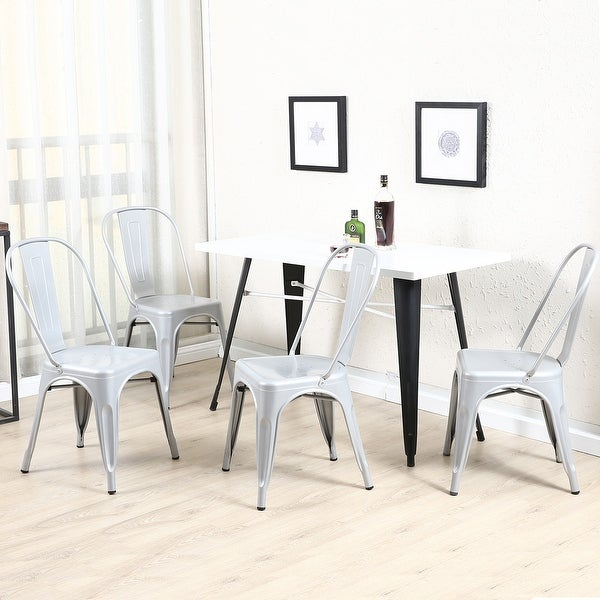 BELLEZE Set Of (4) Industrial Style Chairs W/ Backrest Kitchen Bistro Cafe  Chair