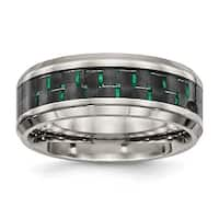 Stainless Steel Polished Black/Green Carbon Fiber Inlay Ring (8 mm) - Sizes 7 - 13