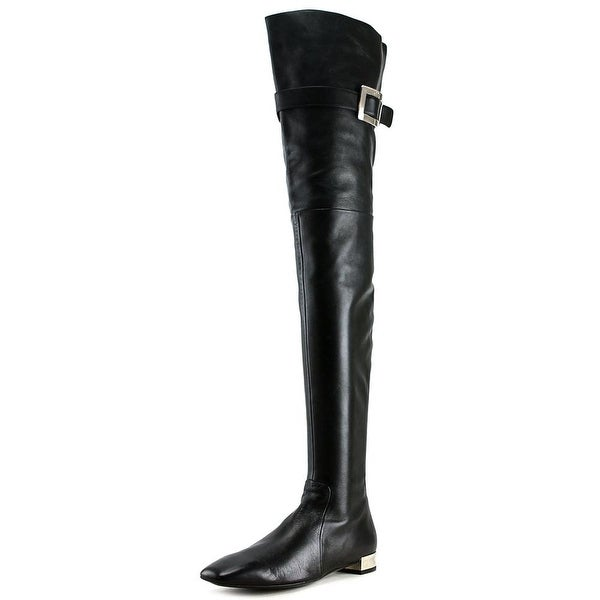 Roger Vivier STIV ALE CUISSARD Women Square Toe Leather Black Over the Knee Boot