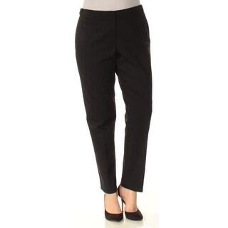 CALVIN KLEIN $89 Womens New 1369 Black Flat Front Straight leg Pants 10 B+B