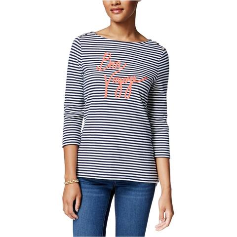 Charter Club Womens Bon Voyage Graphic T-Shirt, Blue, PL