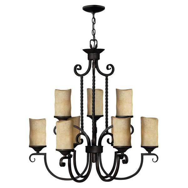 Hinkley Lighting H4018 Casa 9-Light 2 Tier Candle Style Pillar Candle Chandelier - olde black