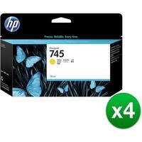 HP 745 130-ml DesignJet Yellow Ink Cartridge (F9J96A)(4-Pack)
