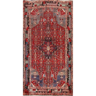 "Geometric Nahavand Persian Wool Area Rug Hand-knotted Bedroom Carpet - 5'0"" x 9'2"""
