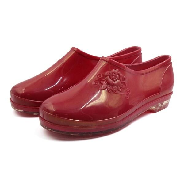 Women Magenta US 8 Low Heel Slip Resistant Waterproof Rain Boots Wellies Shoes