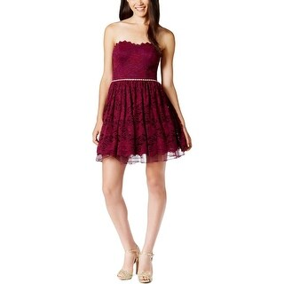 City Studio Womens Juniors Party Dress Lace Embellished
