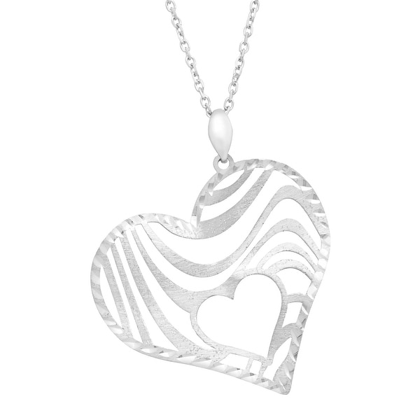 Textured Swirl Heart Pendant Necklace in Sterling Silver