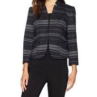 Nine West Black Gray Womens Size 2 Striped Open Front Jacket