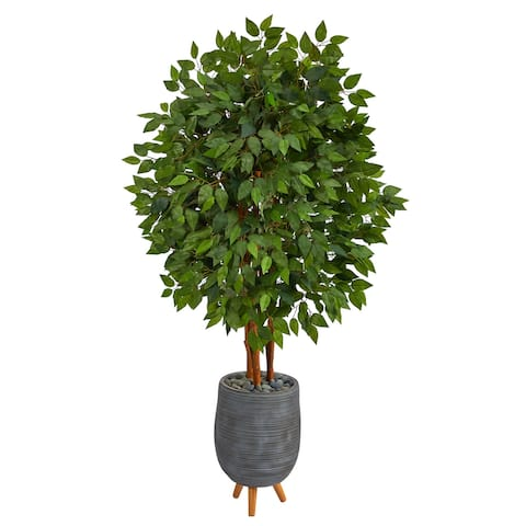 """63"""" Super Deluxe Artificial Ficus Tree in Gray Planter with Stand - 18.5"""""""