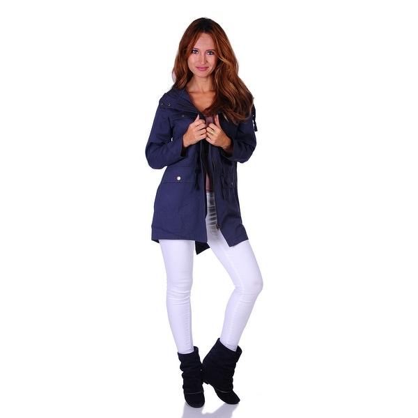 Size: S - 3X Simply Ravishing Hooded Utility Jacket w//Drawstring