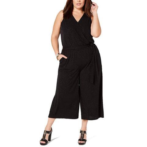 Michael Kors Women's Jumpsuit Black Size 2X Plus V-Neck Shimmer