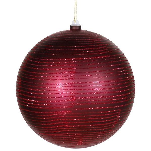 "Burgundy Glitter Striped Shatterproof Christmas Ball Ornament 8"" (200mm)"