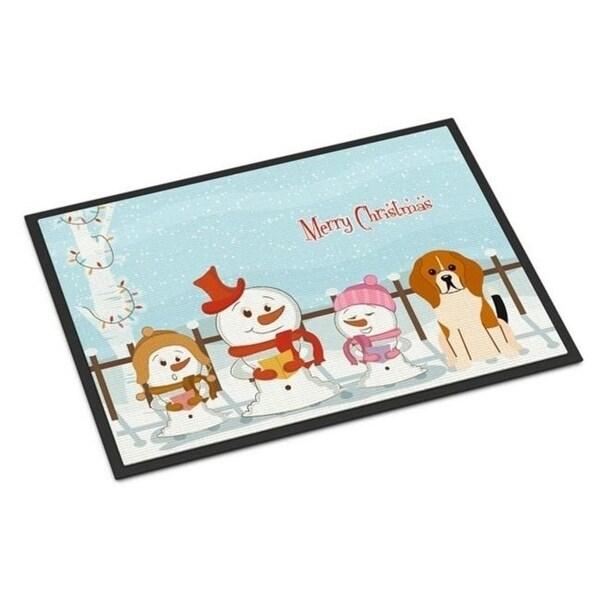 Carolines Treasures BB2371JMAT Merry Christmas Carolers Beagle Tricolor Indoor or Outdoor Mat 24 x 0.25 x 36 in.