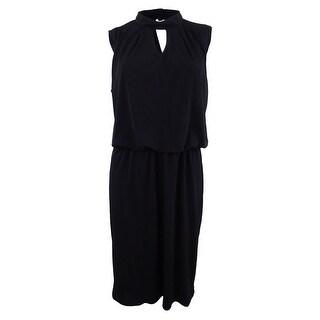 Nine West Women's Plus Size Mock-Neck Blouson Dress - Black