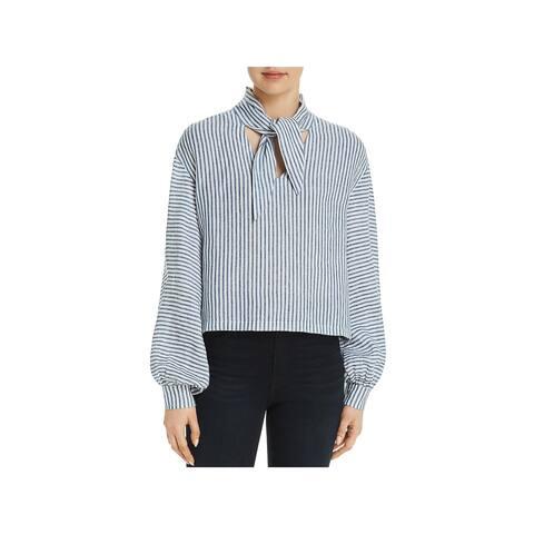Frame Denim Womens Crop Top Linen Striped