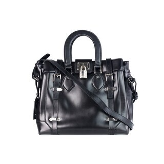 Roberto Cavalli Black Leather Large Top Handle Shoulder Bag