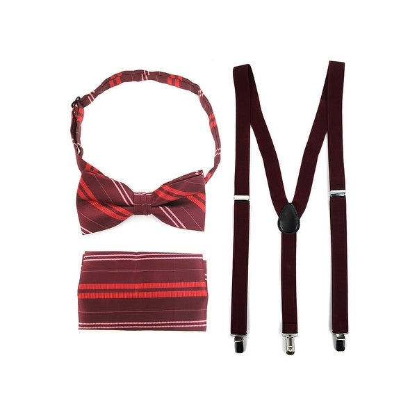 3pc Men's Burgundy Banded Suspenders, Stripes Bow Tie and Hanky Sets - One Size Fits most