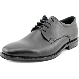 Ecco Faro Lace Men Plain Toe Leather Black Oxford